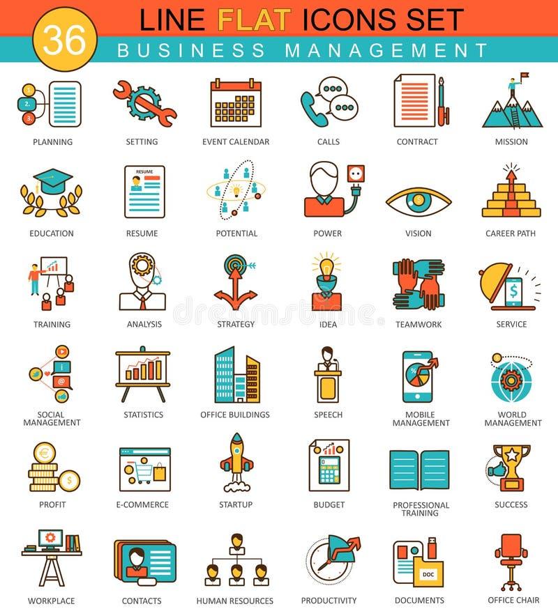 Ligne plate ensemble de gestion d'entreprise de vecteur d'icône Conception moderne de style élégant pour le Web illustration stock