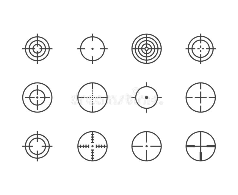 Ligne plate ensemble de portée d'icônes Cible, but d'arme, illustrations de vecteur de réticule de tireur isolé Signes minces pou illustration de vecteur