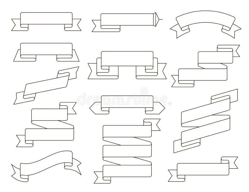 Ligne plate ensemble de ruban de vecteur Collection de différentes bannières de ruban Le vintage a dénommé les rubans et le calib illustration libre de droits