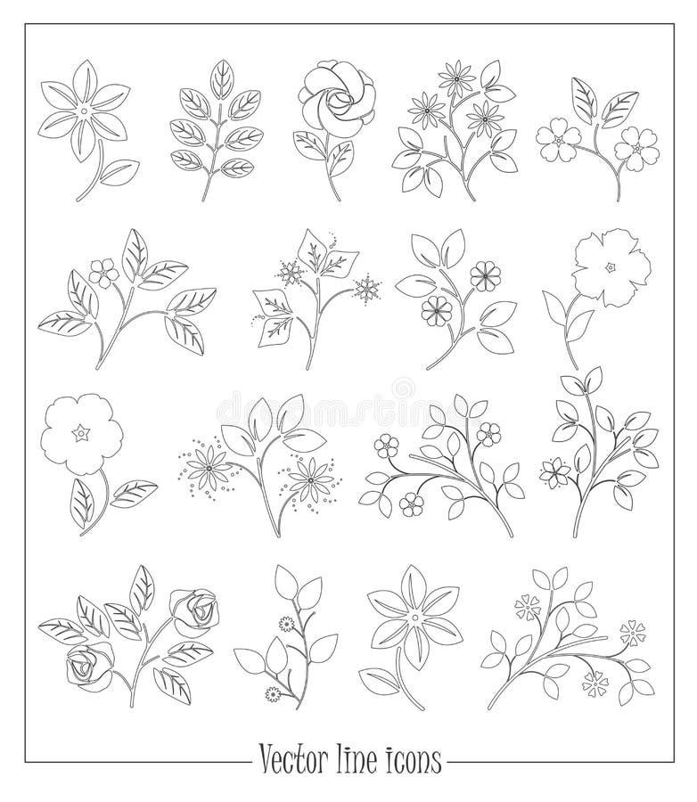 Ligne plate fleurs et plantes d'isolement sur le fond blanc illustration libre de droits
