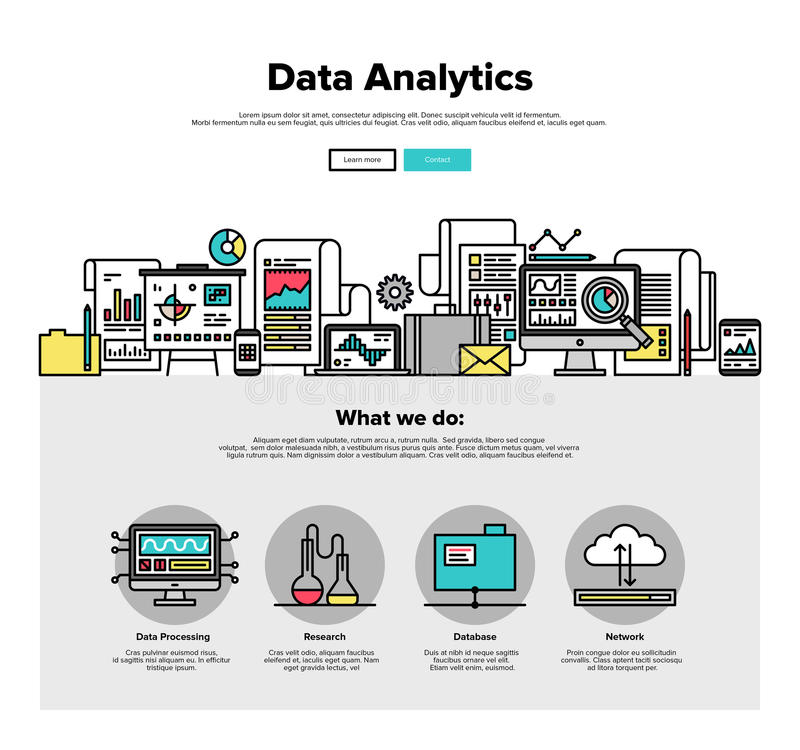 Ligne plate graphiques d'analytics de données de Web illustration stock