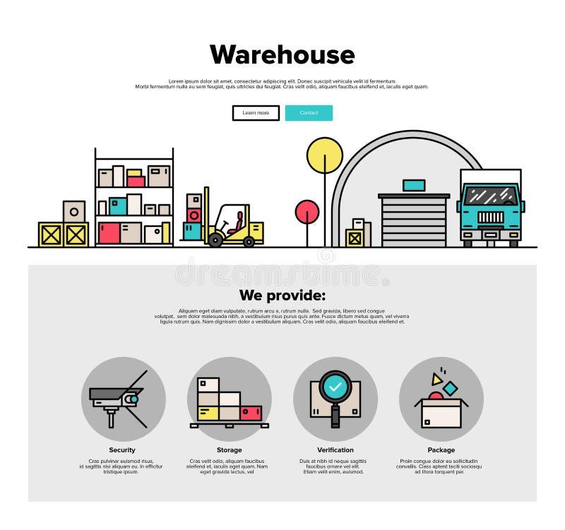 Ligne plate graphiques de stockage d'entrepôt de Web illustration libre de droits