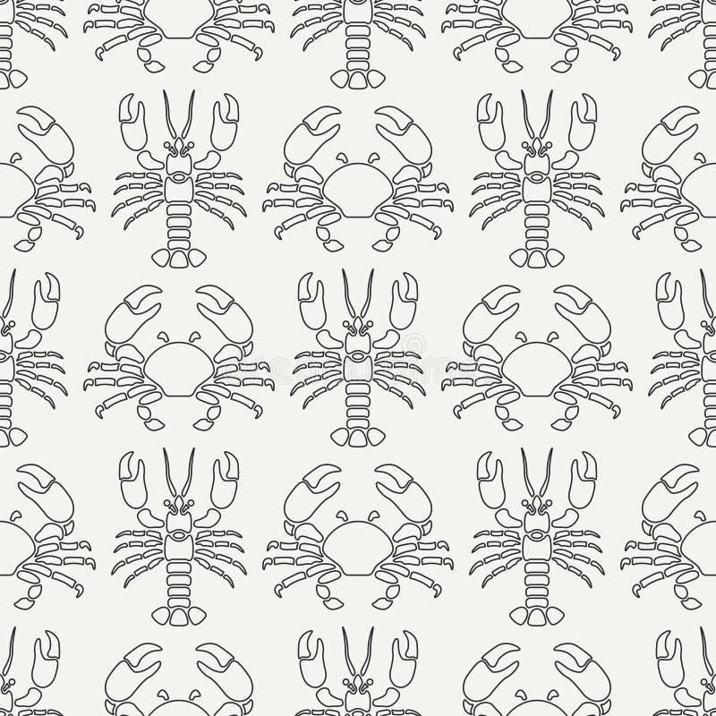 Ligne plate homard et crabe sans couture de faune d'océan de modèle de vecteur Rétro style simplifié cancer omar Délicatesse de f illustration libre de droits