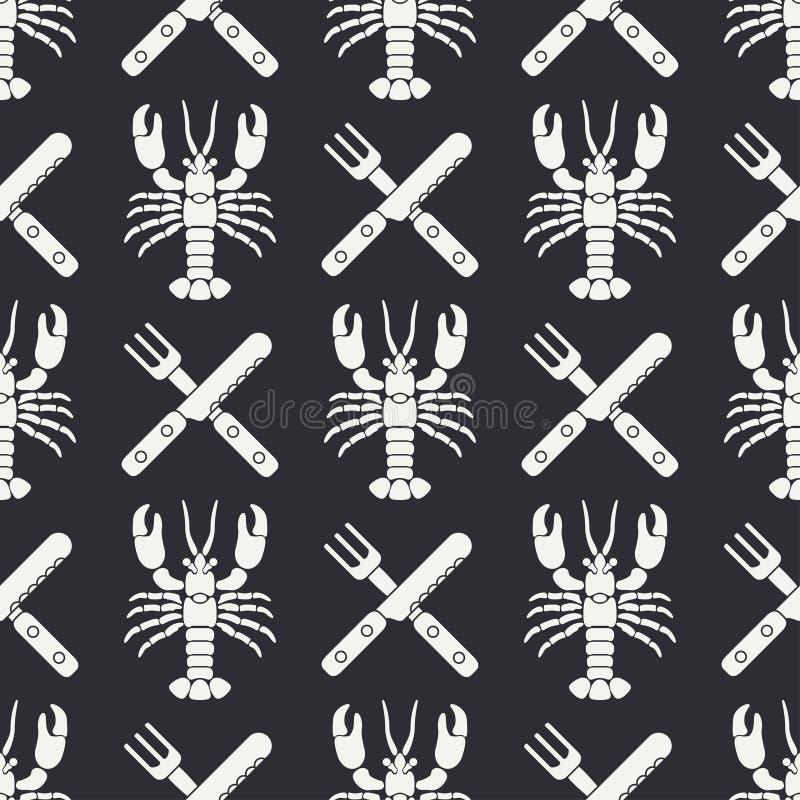 Ligne plate homard sans couture de modèle de vecteur, couverts, fourchette, couteau Rétro simplifié Type de dessin animé cancer o illustration de vecteur