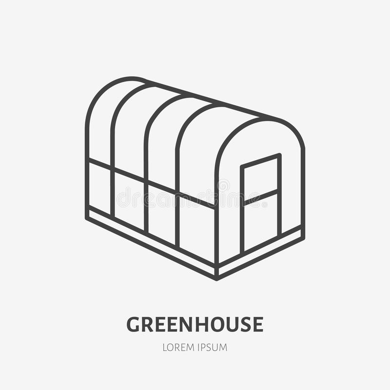 Ligne plate icône de châssis de couches Signe en verre de serre chaude Amincissez le logo linéaire pour faire du jardinage, ferme illustration de vecteur