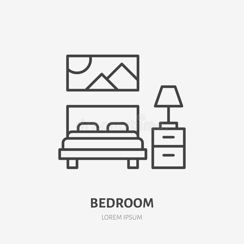 Ligne plate icône de chambre à coucher Signe de meubles d'appartement, illustration de vecteur de lit, table de chevet, lampe, dé illustration stock