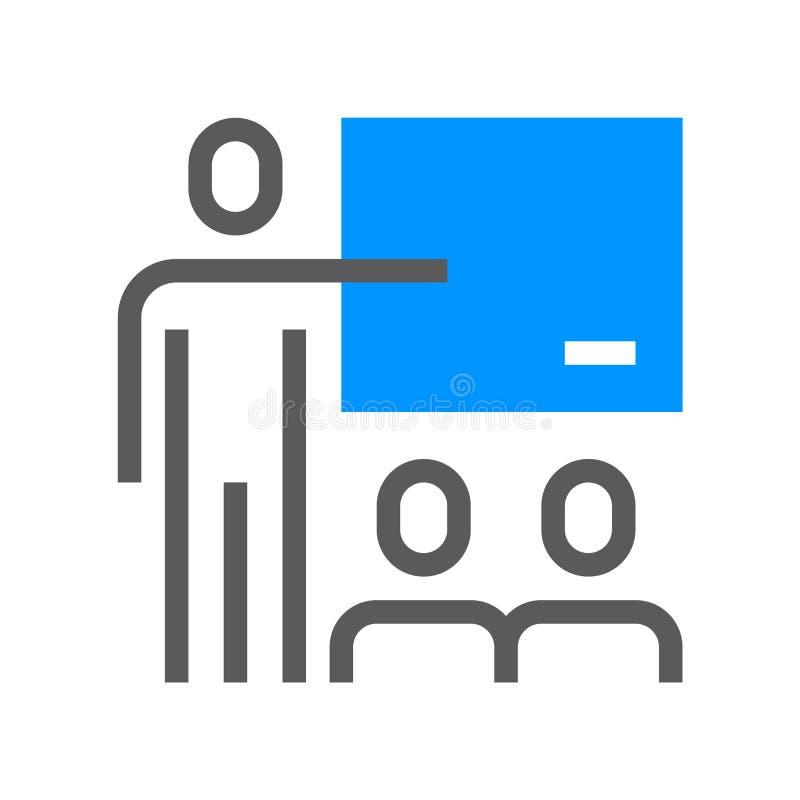 Ligne plate icône de direction et de vecteur de gestion d'entreprise Formation avancée Course Editable pixel 48x48 parfait illustration libre de droits