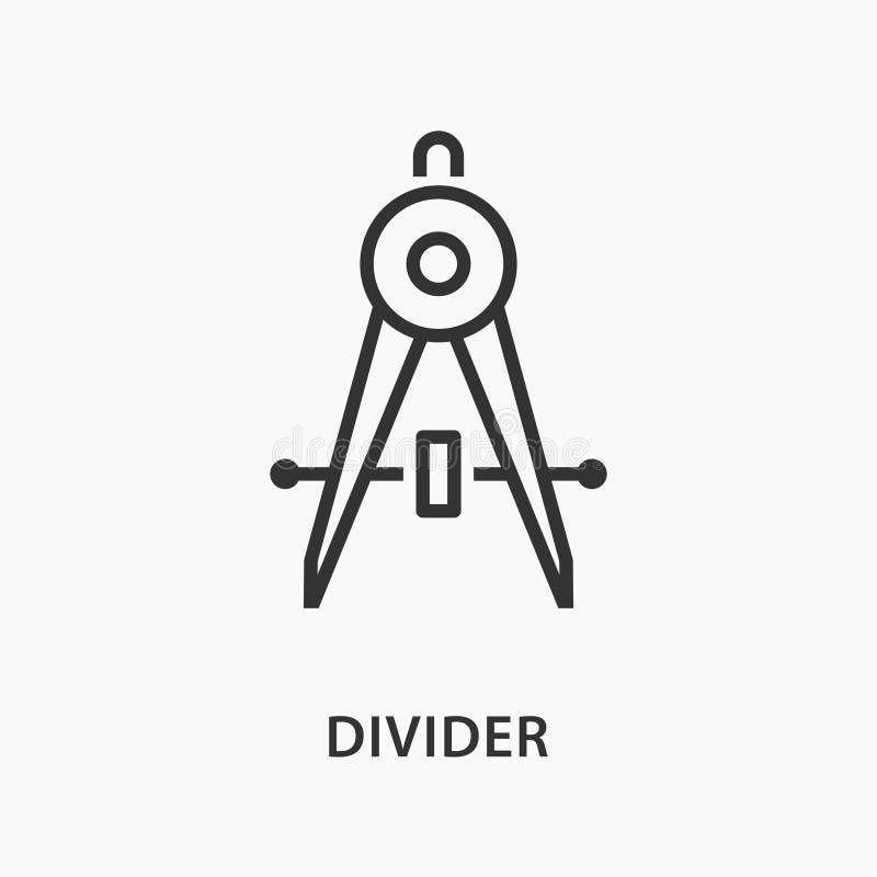 Ligne plate icône de diviseur sur le fond blanc illustration de vecteur