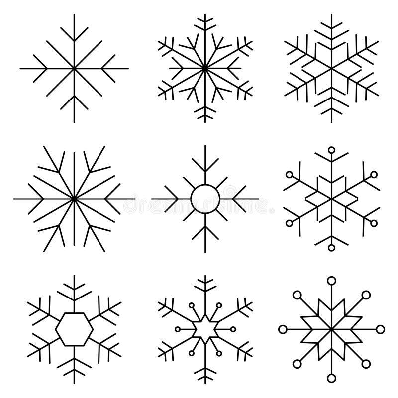 Ligne plate icône de flocon de neige illustration stock
