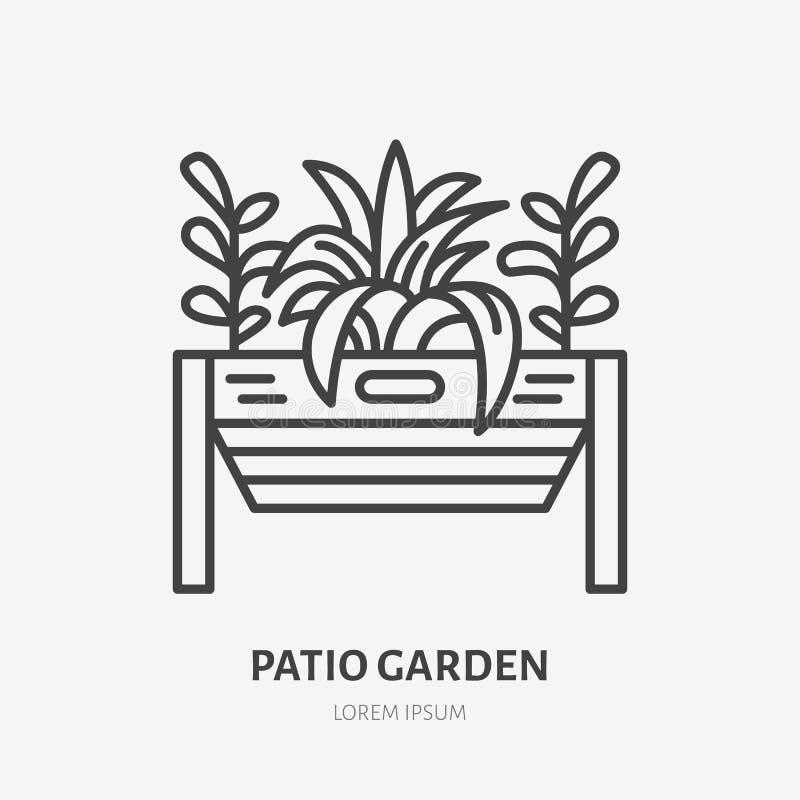 Ligne plate icône de jardin de patio Usines s'élevant dans le signe de pot de fleurs de terrasse Amincissez le logo linéaire pour illustration libre de droits