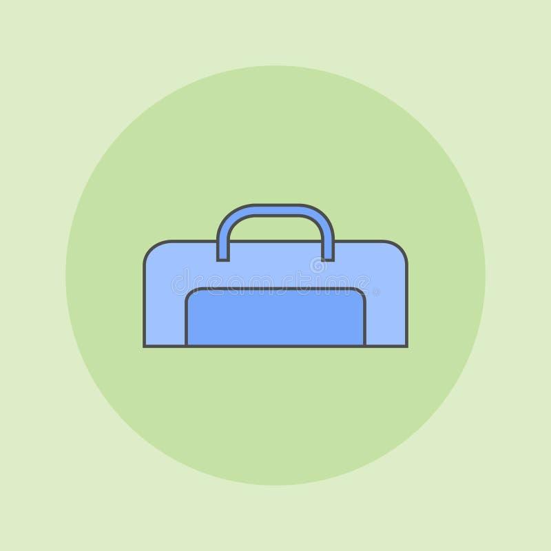 Ligne plate icône de sac de poignée de voyage Illustration de vecteur illustration de vecteur