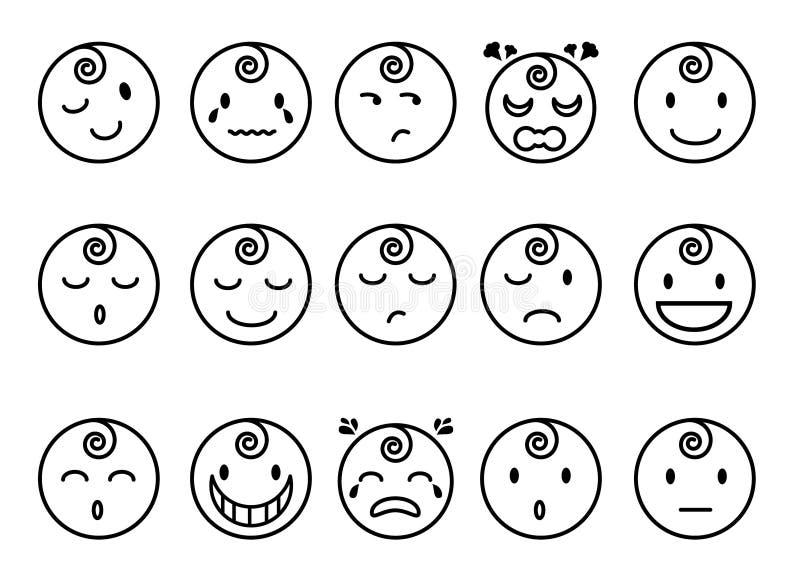 Ligne plate icônes d'émotions de bébé illustration stock