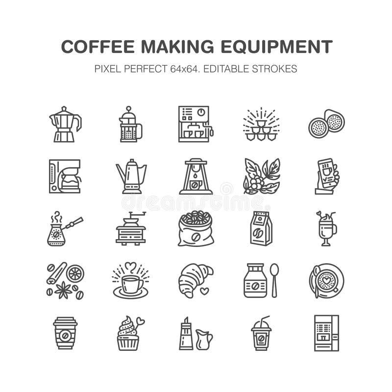 Ligne plate icônes d'équipement à café Éléments - pot de moka, presse de Français, broyeur, expresso, vente, usine linéaire illustration libre de droits