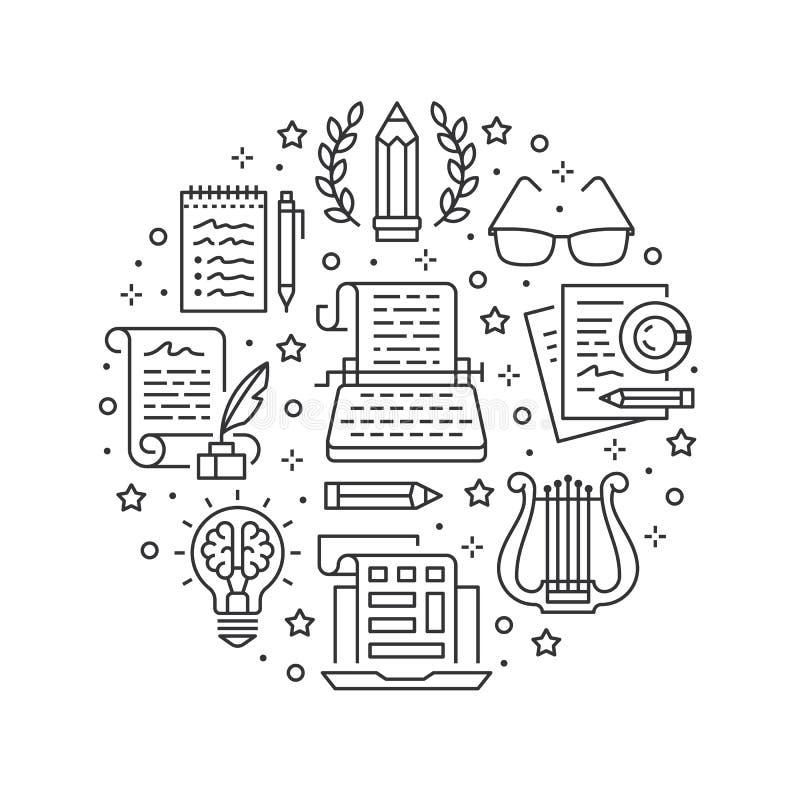 Ligne plate icônes de bannière de cercle de vecteur de rédaction publicitaire Texte de dactylographie d'auteur, contenu social de illustration libre de droits