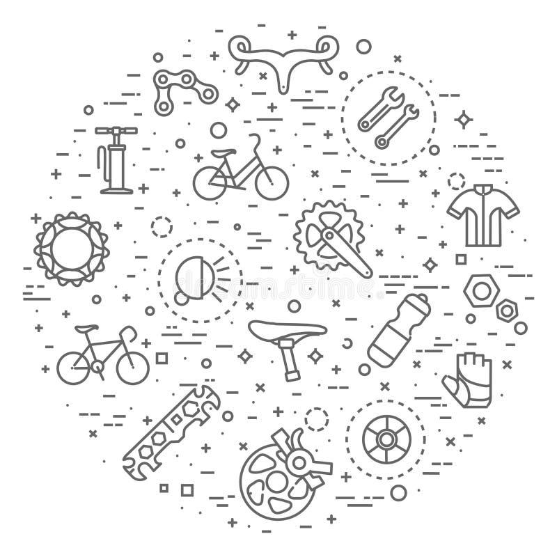 Ligne plate icônes de bicyclette illustration de vecteur