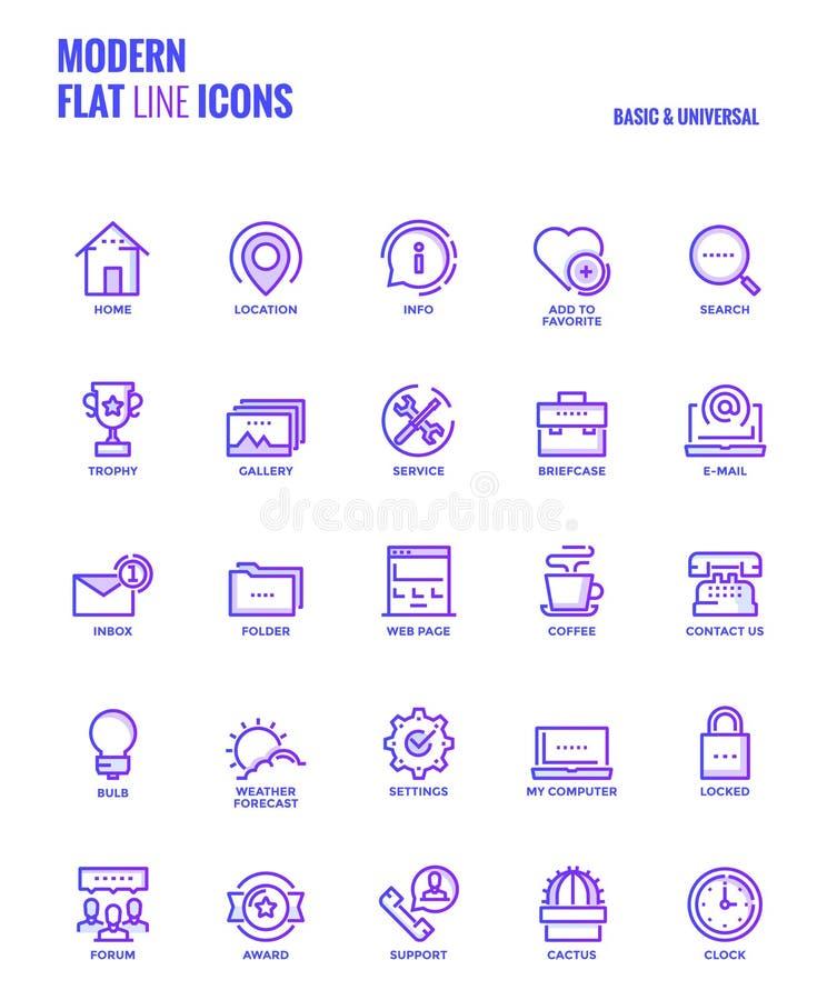 Ligne plate icônes de gradient conception-de base et universelles illustration stock