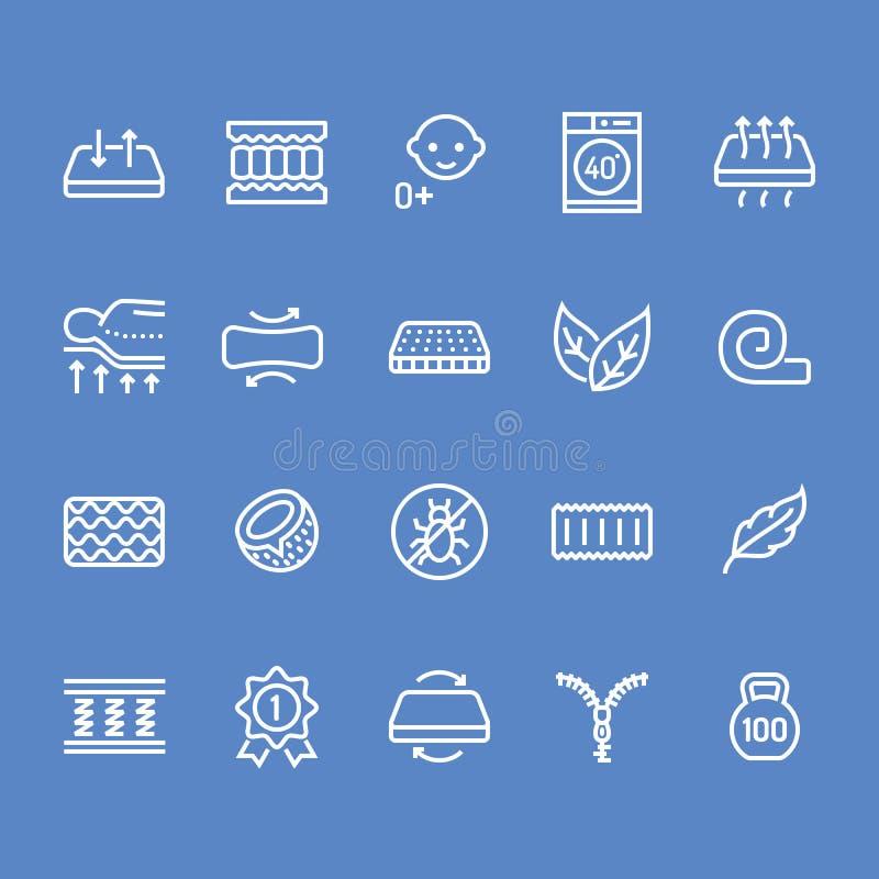 Ligne plate icônes de matelas orthopédique Propriétés de matelas - anti acarides de la poussière, appui d'épine, couverture lavab illustration de vecteur
