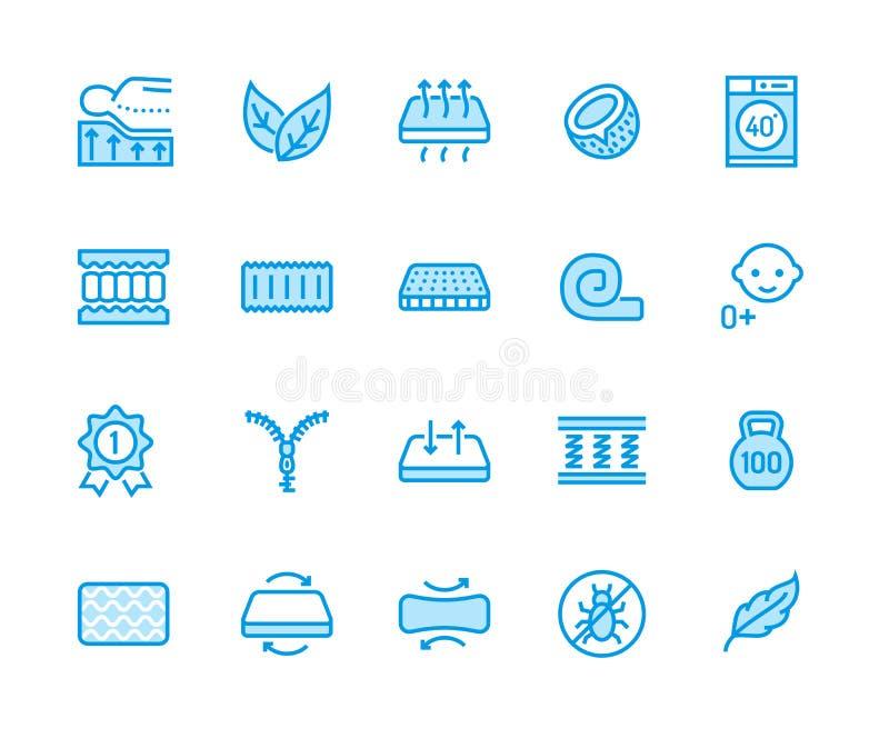 Ligne plate icônes de matelas orthopédique Propriétés de matelas - anti acarides de la poussière, appui d'épine, couverture lavab illustration libre de droits