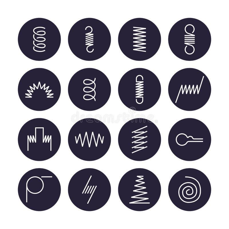 Ligne plate icônes de ressort en métal La variété de bobine flexible, le fil d'acier élastique dactylographie Amincissez signe de illustration de vecteur
