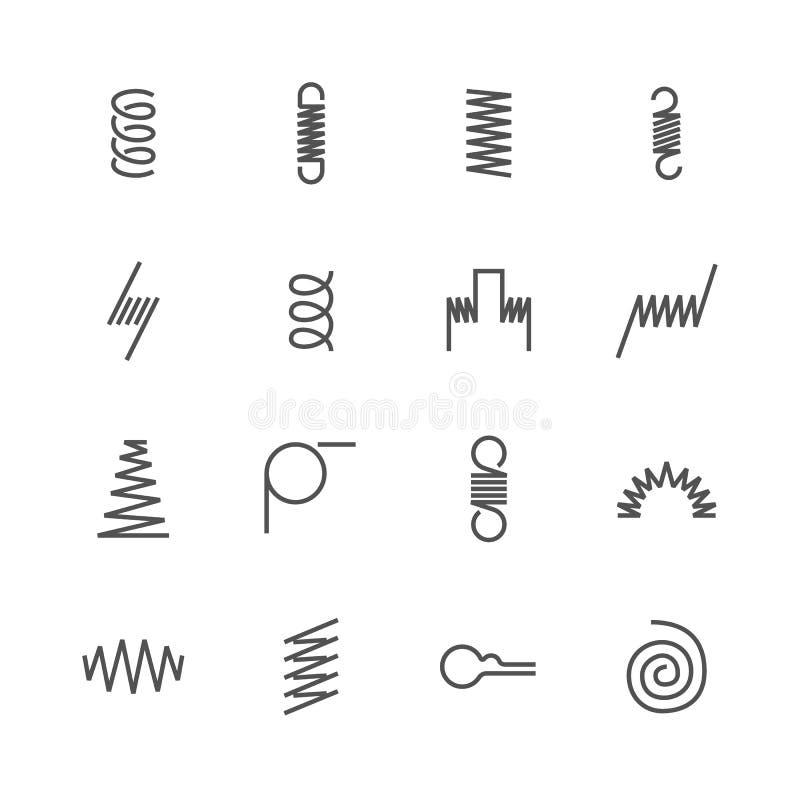 Ligne plate icônes de ressort en métal La variété de bobine flexible, le fil d'acier élastique dactylographie Propriété mince de  illustration libre de droits