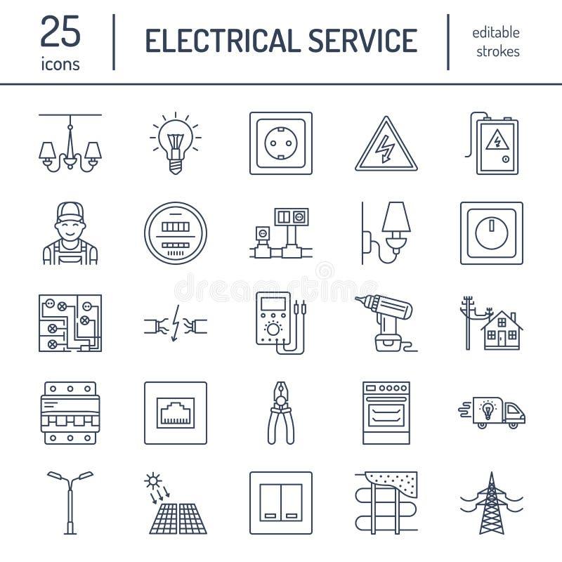 Ligne plate icônes de vecteur d'ingénierie de l'électricité illustration libre de droits