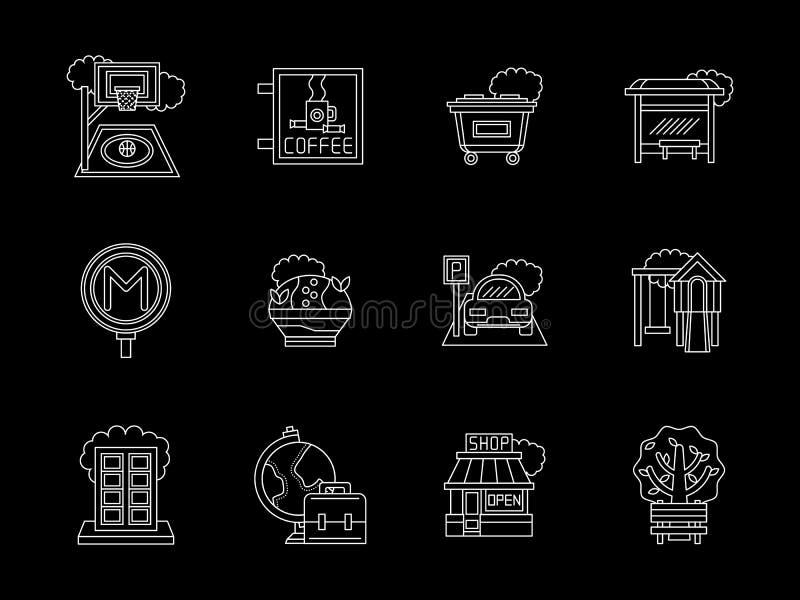 Ligne plate icônes de ville réglées illustration de vecteur