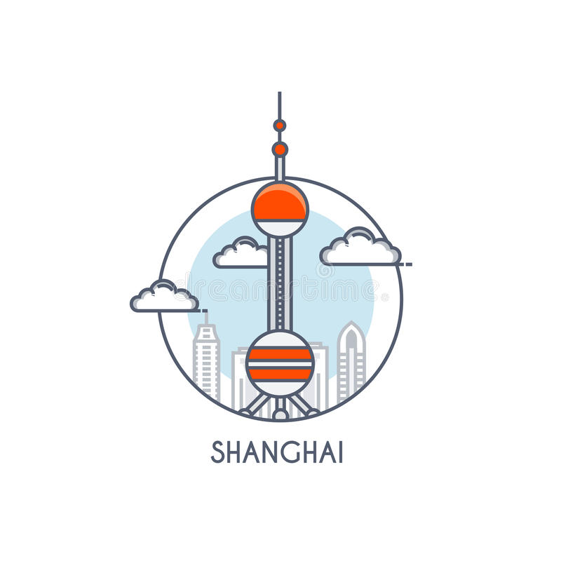Ligne plate icône deisgned - Changhaï illustration stock