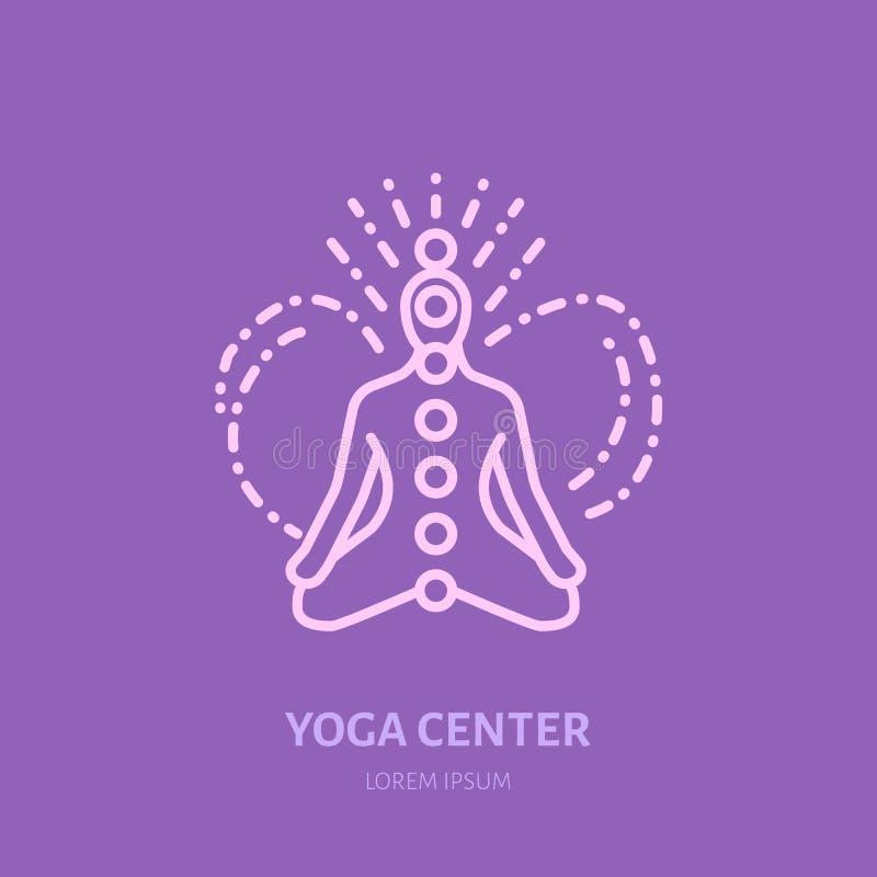 Ligne plate icône, logo de méditation Dirigez l'illustration des hommes dans l'asana avec de l'énergie de chakra pour le studio d illustration de vecteur