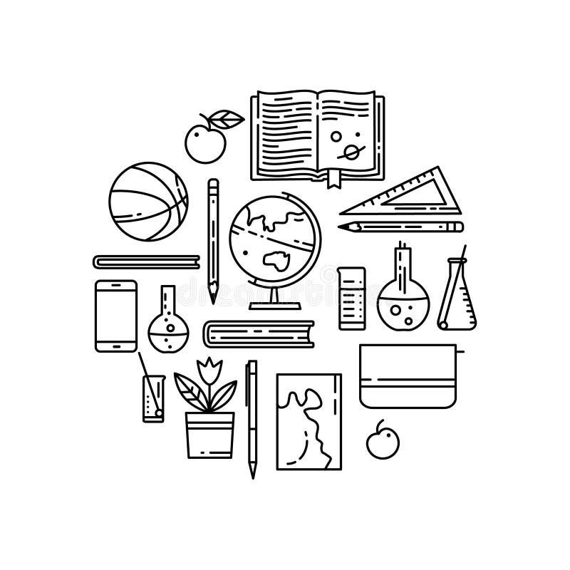 Ligne plate icônes d'école en composition ronde illustration libre de droits