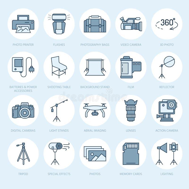 Ligne plate icônes d'équipement de photographie Appareil photo numérique, photos, éclairage, caméras vidéo, accessoires de photo, illustration de vecteur