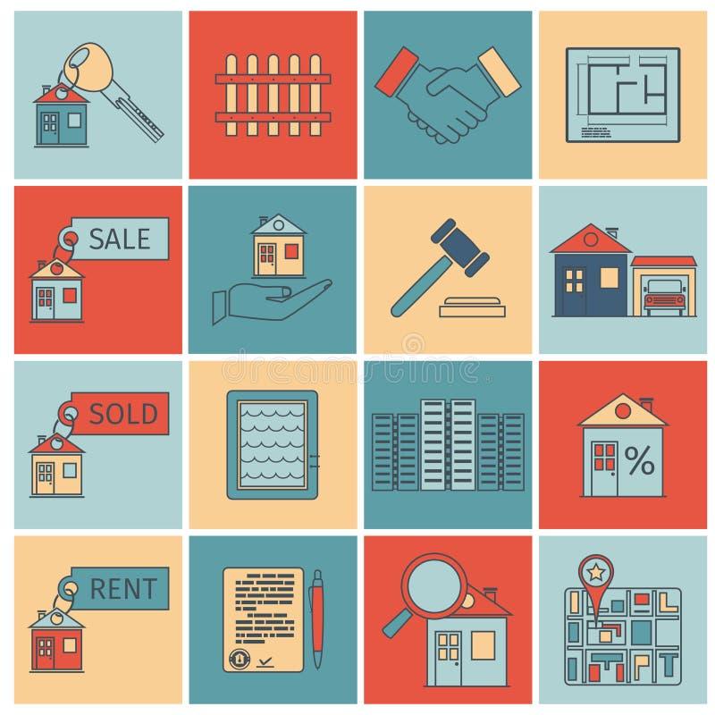 Ligne plate icônes d'immobiliers illustration stock