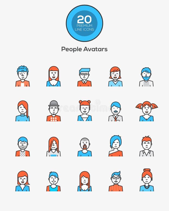 Ligne plate icônes de couleur - avatars de personnes illustration de vecteur