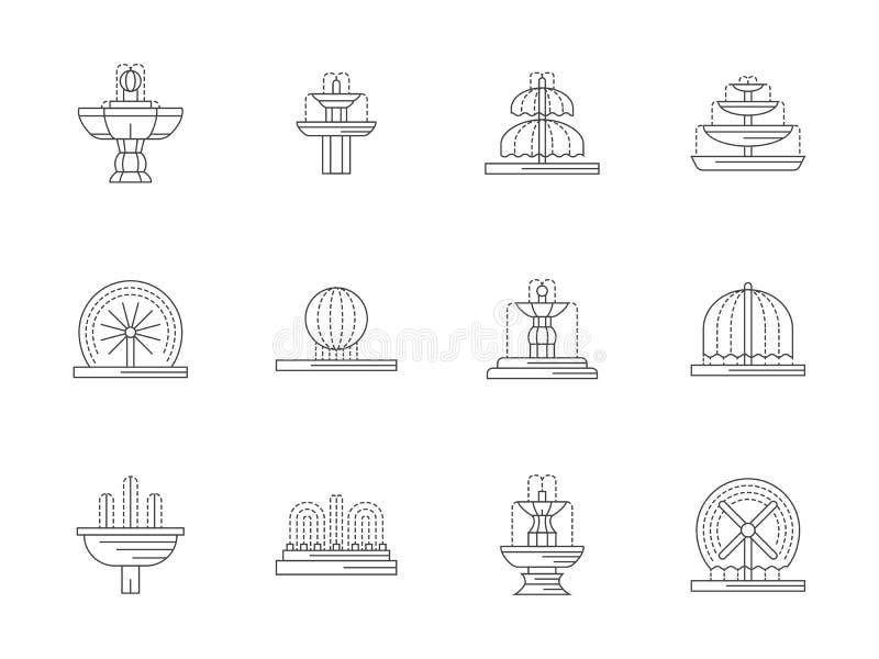 Ligne plate icônes de fontaines décoratives réglées illustration stock