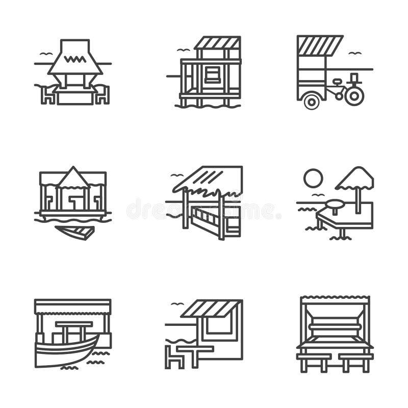 Ligne plate icônes de pavillon illustration de vecteur