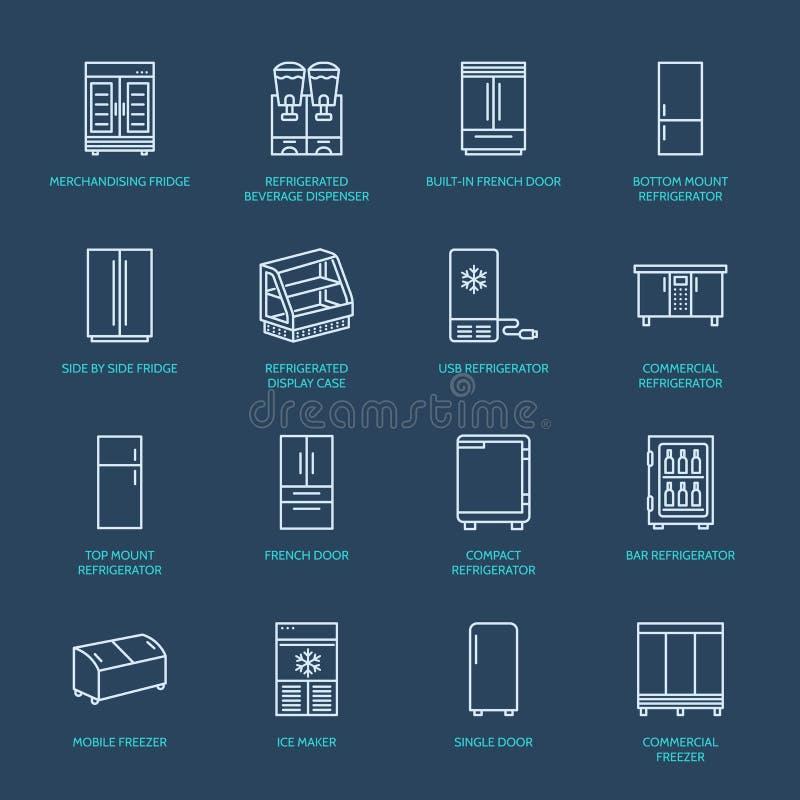Ligne plate icônes de réfrigérateurs Le réfrigérateur dactylographie, congélateur, refroidisseur de vin, appareil principal comme illustration de vecteur