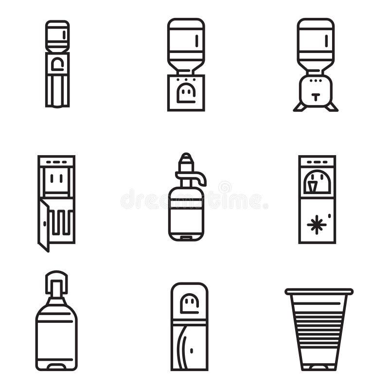 Ligne plate icônes de refroidisseur d'eau illustration de vecteur