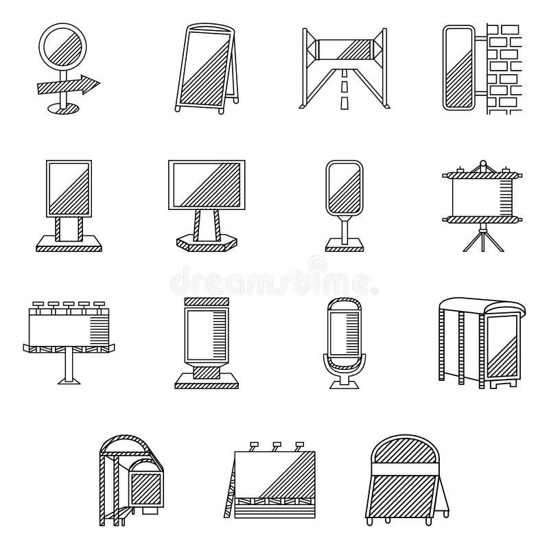 Ligne plate icônes pour la publicité extérieure illustration de vecteur