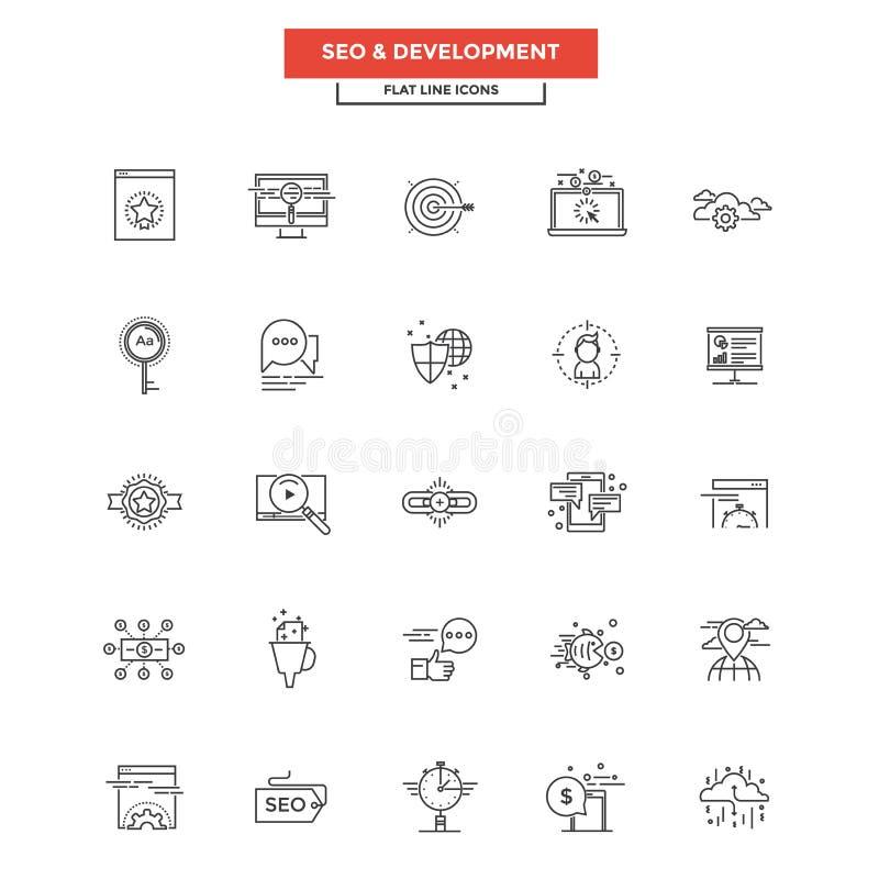 Ligne plate icônes SEO et développement illustration de vecteur