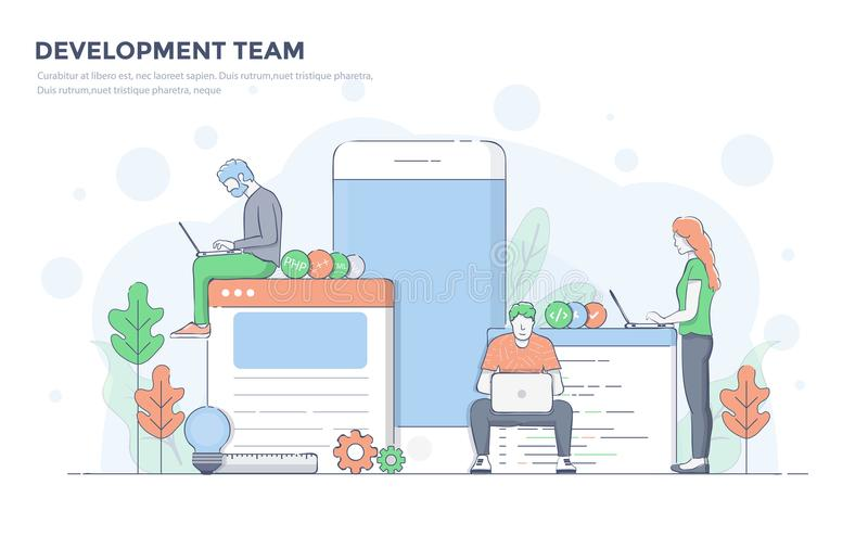 Ligne plate illustration moderne de concept - équipe de développement illustration de vecteur