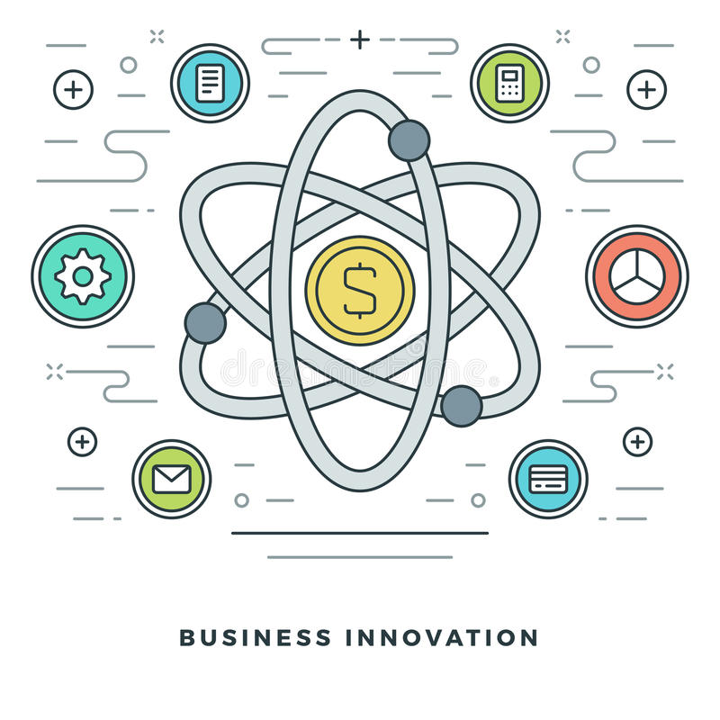 Ligne plate innovations d'affaires ou concept de recherches Illustration de vecteur illustration stock