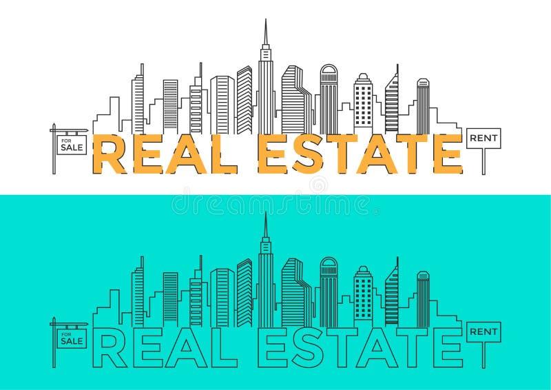 Ligne plate mot REAL ESTATE de conception avec des bâtiments et des éléments Concept 6 d'immeubles Illustration de ville dans la  illustration stock