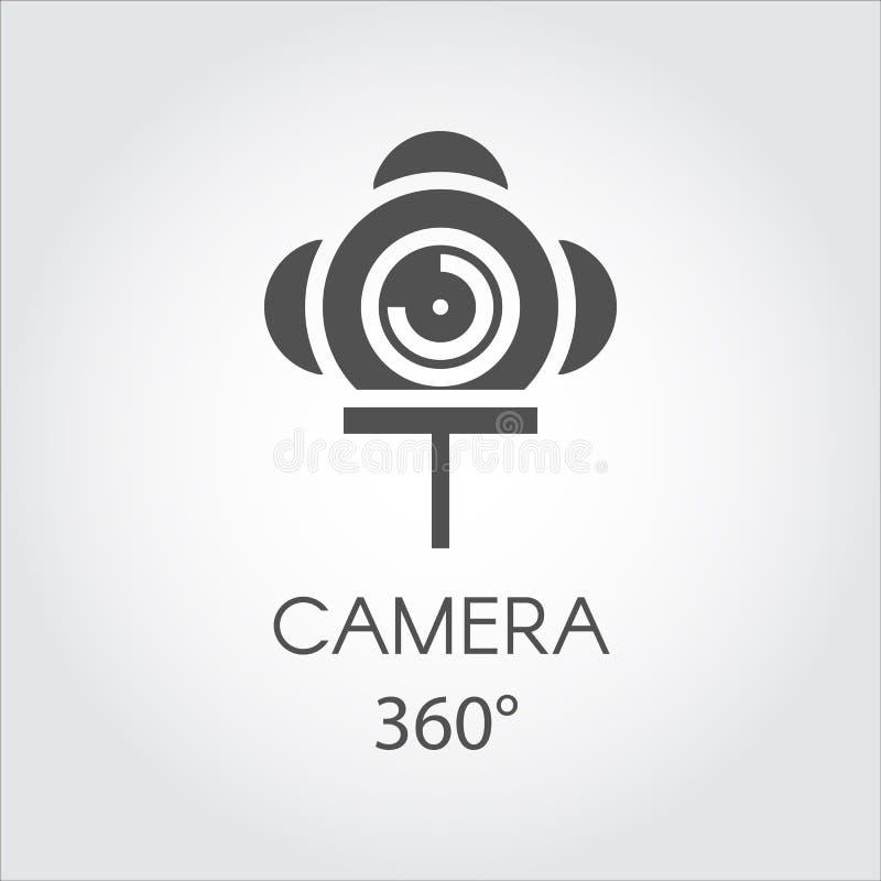 Ligne plate noire icône d'appareil-photo 360 degrés Concept de vue virtuelle de panorama illustration libre de droits