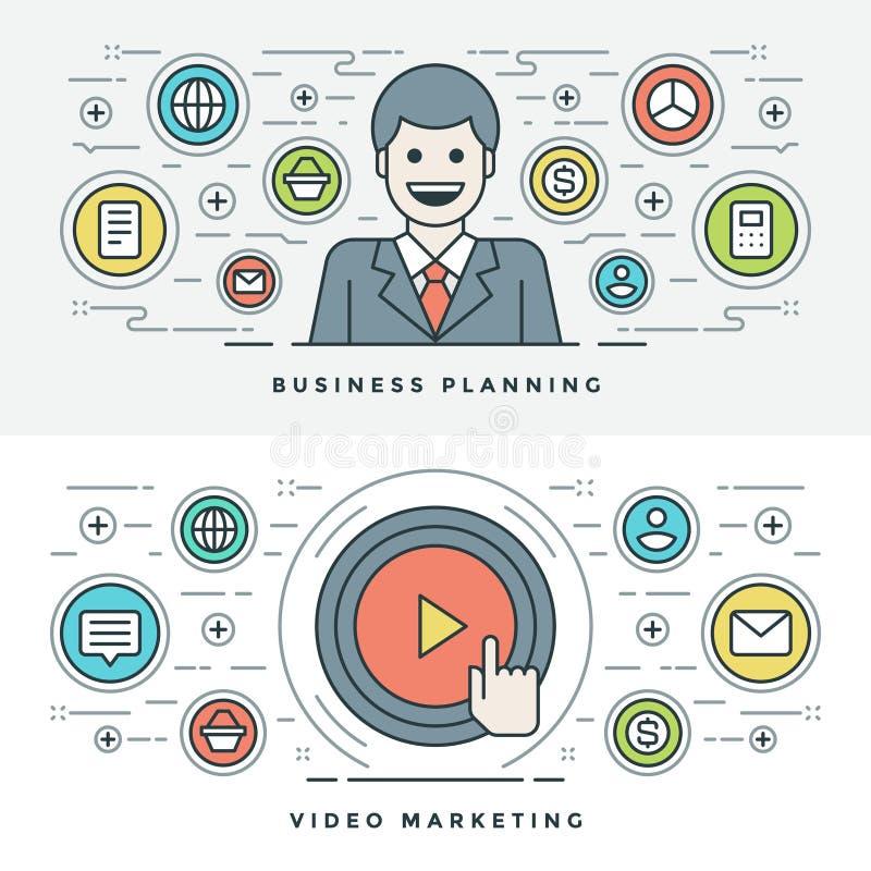 Ligne plate planification des affaires et vente de vidéo Illustration de vecteur illustration stock