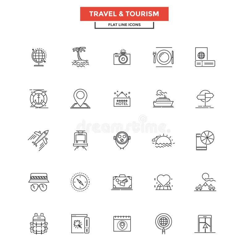Ligne plate voyage et tourisme d'icônes illustration libre de droits