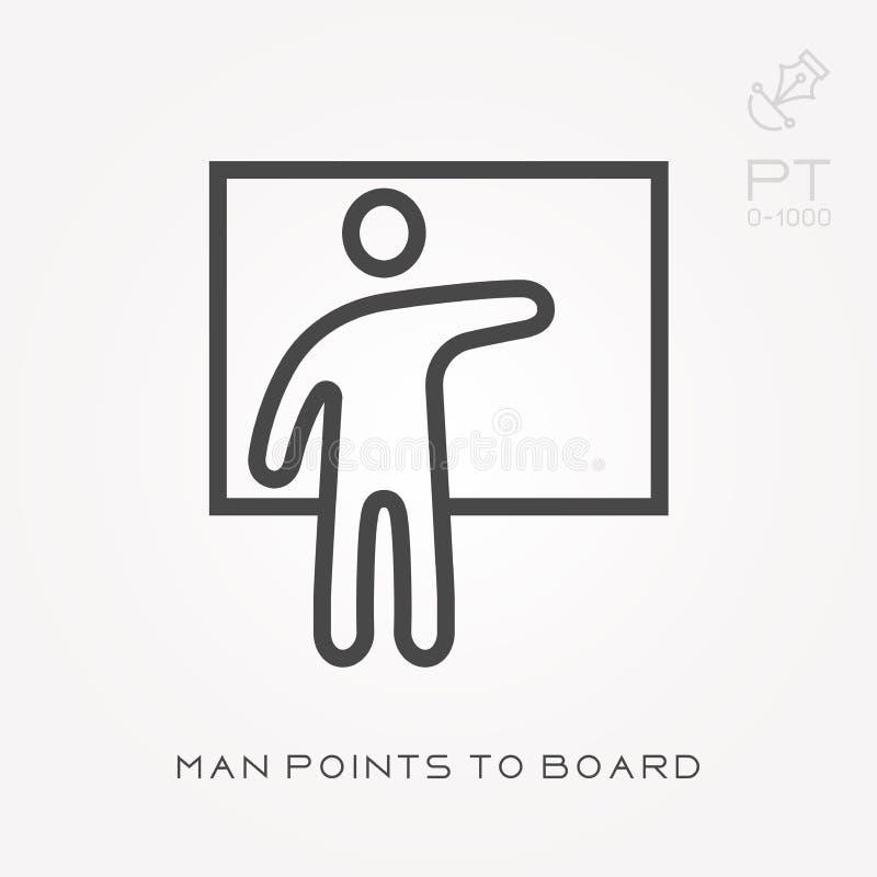 Ligne points d'homme d'ic?ne ? embarquer illustration de vecteur