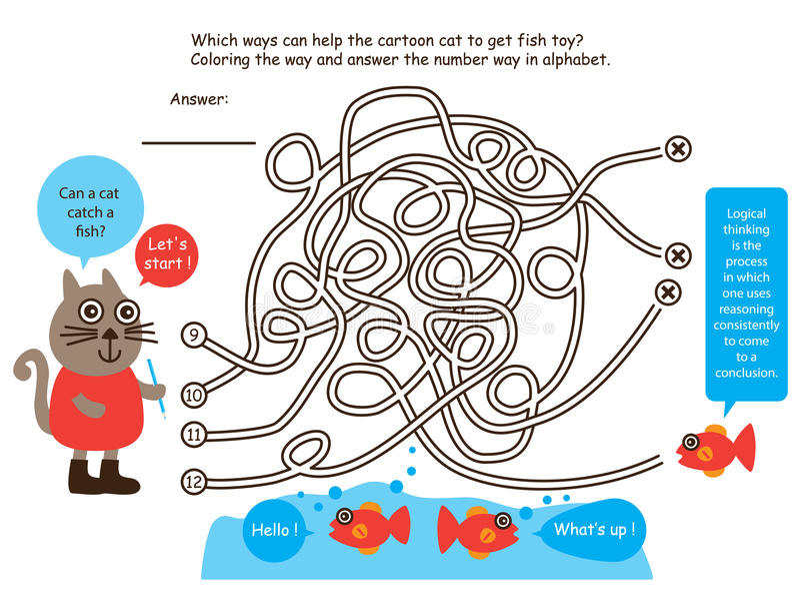 Ligne poisson de jeu de labyrinthe de découverte de chat illustration de vecteur