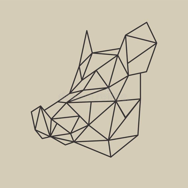 Ligne polygonale tête d'origami de style de verrat Illustration de vecteur illustration libre de droits