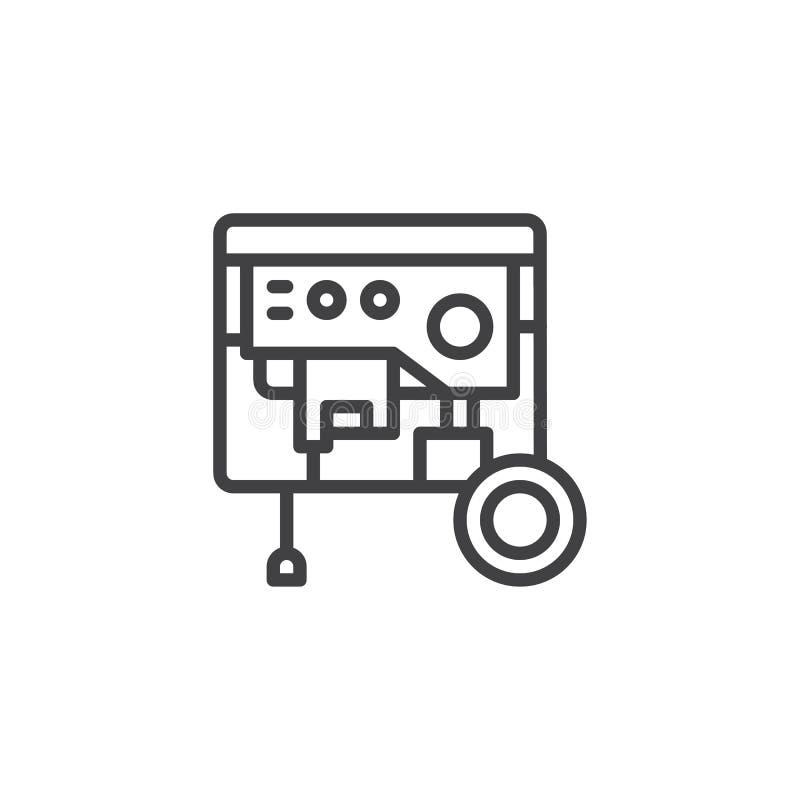Ligne portative icône de groupe électrogène illustration stock