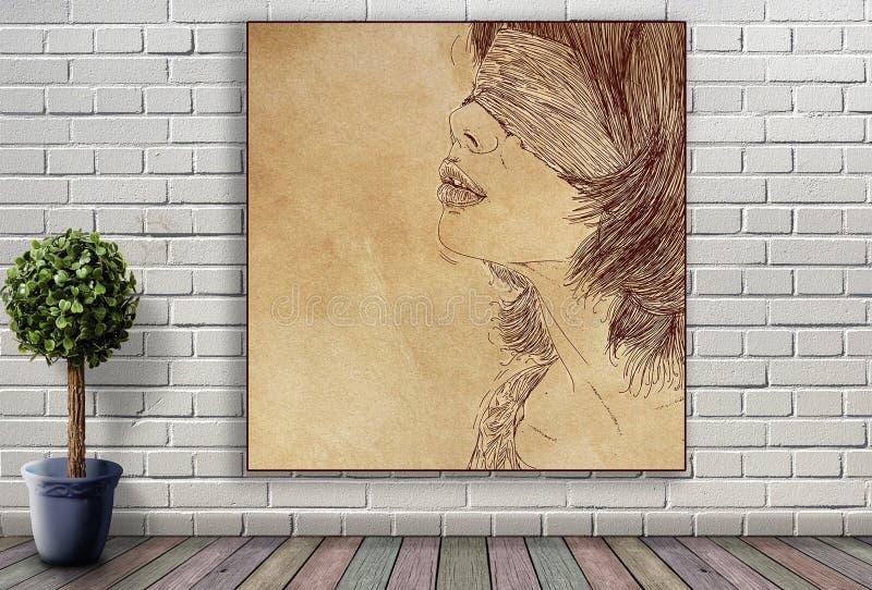 Ligne portrait de femme accrochant sur le mur de briques photo stock