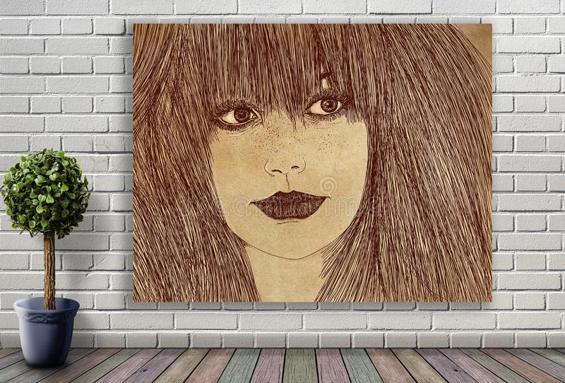Ligne portrait de femme accrochant sur le mur de briques photo libre de droits